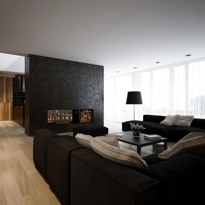 Modern minimalist black and white lofts 16