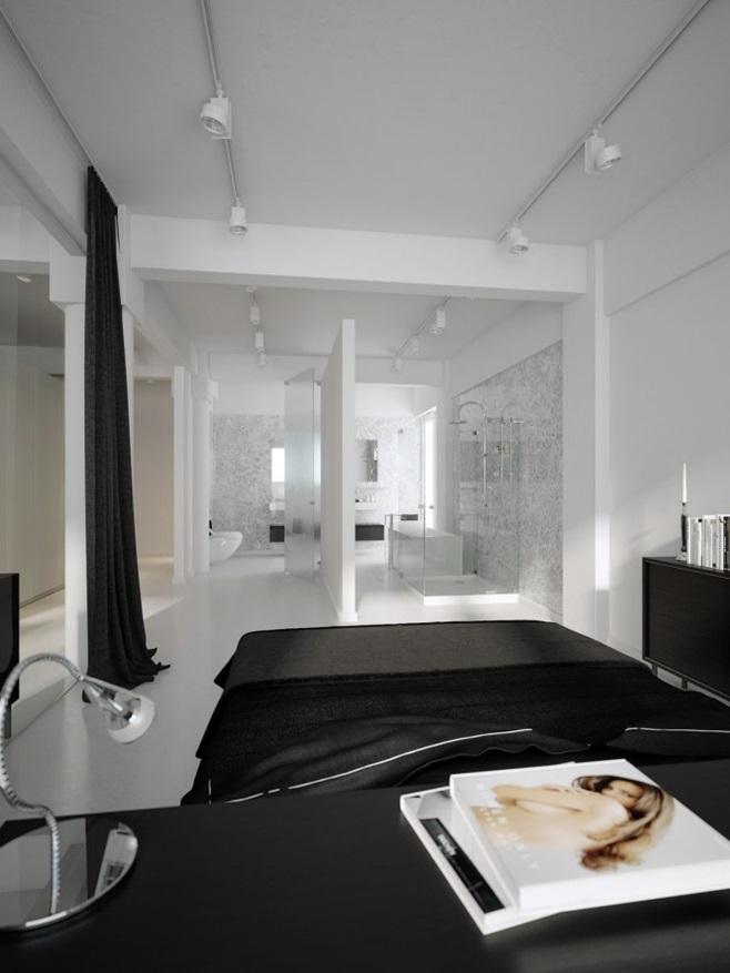 Modern minimalist black and white lofts 7