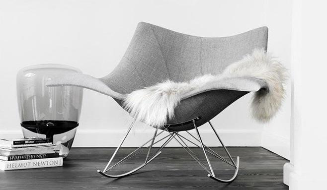 Contemporary armchair / organic design / rocker